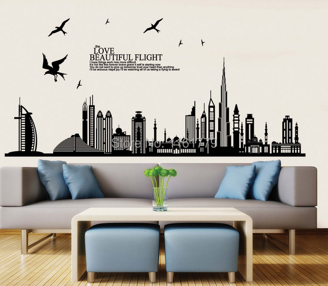 Wall stickers home decor removable vinyl wall sticker new arrival dubai city landscape wall Home decor survivor 6