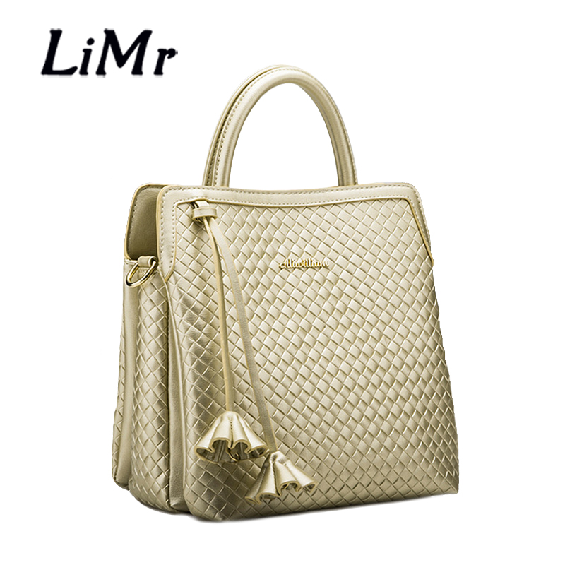 LiMr Fashion Handbags PU Leather Women Shoulder Bags Solid Knitted Embossed Quality Leather Lady Messenger Bags Bolsa Feminia