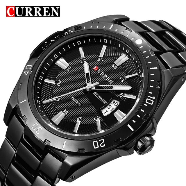 Люксовый бренд полный нержавеющей стали часы черный аналог спортивные мужские кварцевые бизнес свободного покроя наручные часы военные relogio мужской