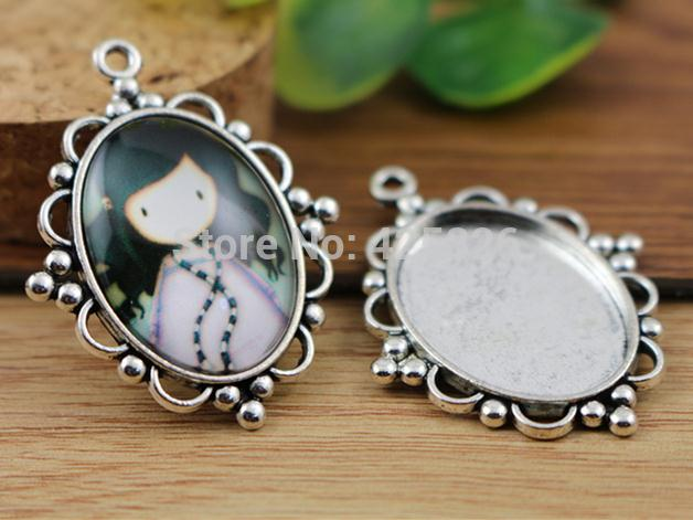 4pcs 18x25mm Inter Size Antique Silver Flowers Style Cameo Cabochon Base Setting Charms Pendant necklace findings