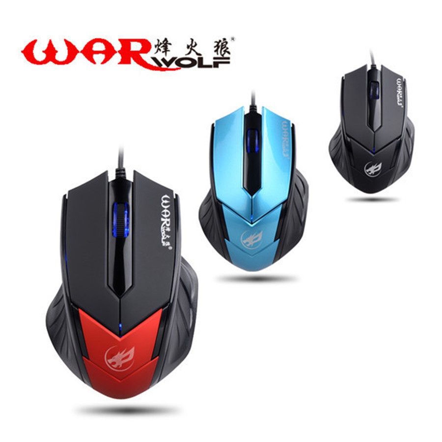 Warwolf T-3 3D Professional PC Laptop Gaming Mouse 1.5m USB Optical Wired Laser Mause for Computer Gamer Desktop 1200DPI 3 color(China (Mainland))