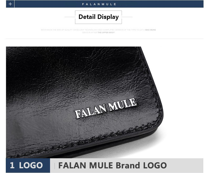 Falan Mule Fashion Men Wallets Long Genuine Leather Brand