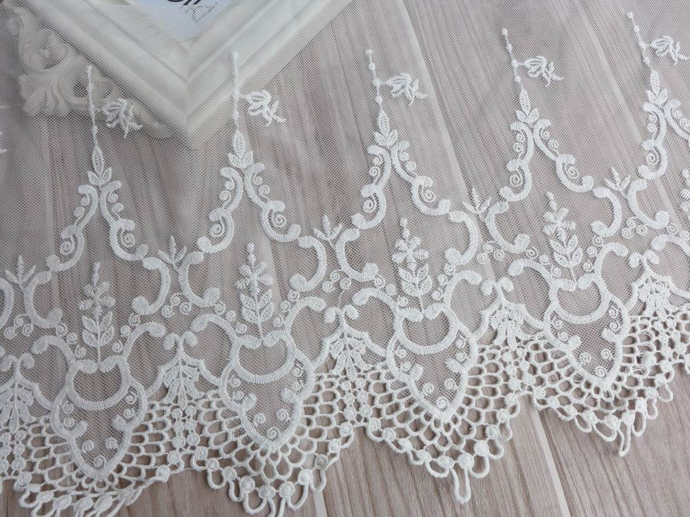 Vintage embroidery lace white tulle lace fabric trim for Wedding dress lace fabric