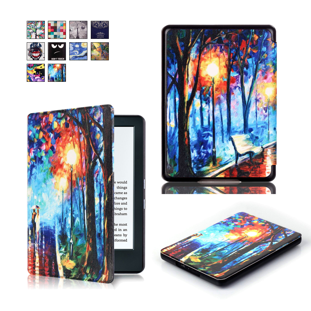 All-New PU Leather Case Smart Cover for Amazon New Kindle 2016 Version (Kindle 8th Generation) Ebook + 2Pcs Screen Protector(China (Mainland))