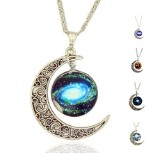 X405  Free Shipping 2015 New Fashion Galaxy Necklace Lovely Galaxy Cabochon Alloy Hollow Moon Pendant  Chain Necklace Best Gift(China (Mainland))