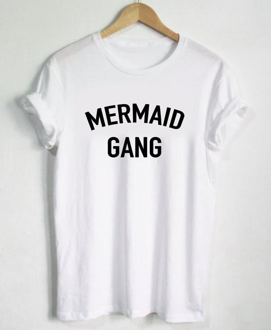 mermaid gang letters print women t shirt cotton casual With how to print letters on a shirt