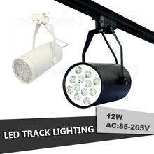 LED track light 12W 85-265v commercial lighting rail lamp Black White body High quality warm white/white/red/green/blue(China (Mainland))