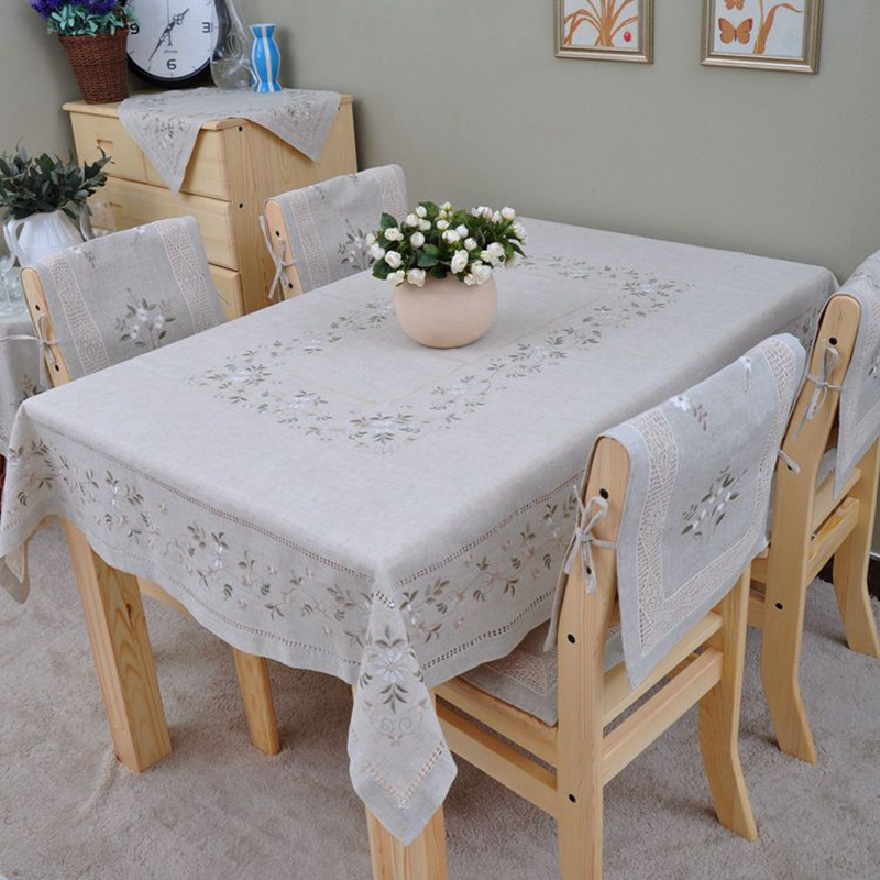 Embroidery Hemsitiched Tablecloth Embroidery Linen Tablecloth Long Tablecloth Many Size available(China (Mainland))