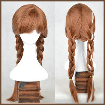 Synthetic Cosplay hair long Curly hair wigs Frozen Snow(Adult and children aged 5-12 years ) Queen Anna and Elsa Long Wigs