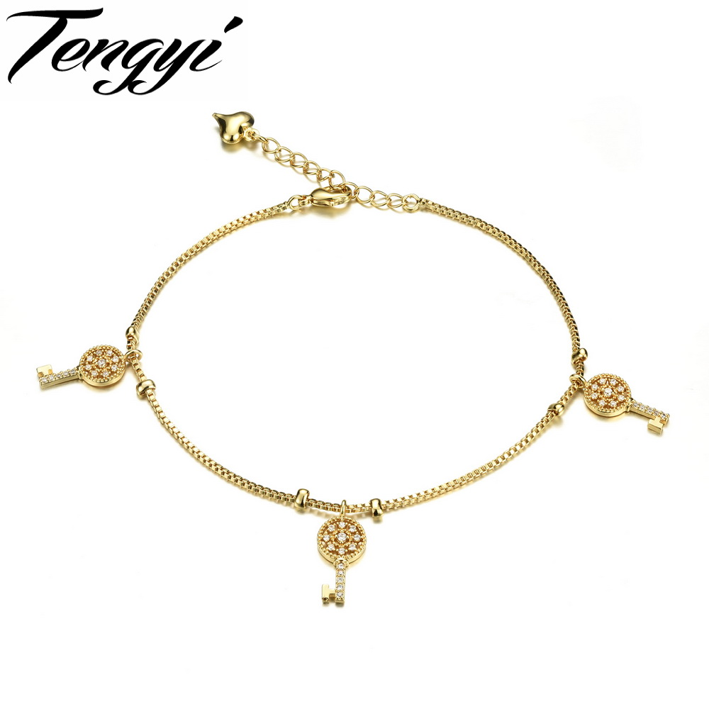 Fashion 18K Gold Plated Key Design Anklet Foot Jewelry for Women Barefoot Beach Jewelry For Woman TY739(China (Mainland))