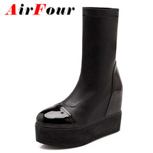 Airfour Mid-Calf Stretch Fabric women boots new wedges snow boots fashion big size 34-43 black platform boots Martin shoes new(China (Mainland))