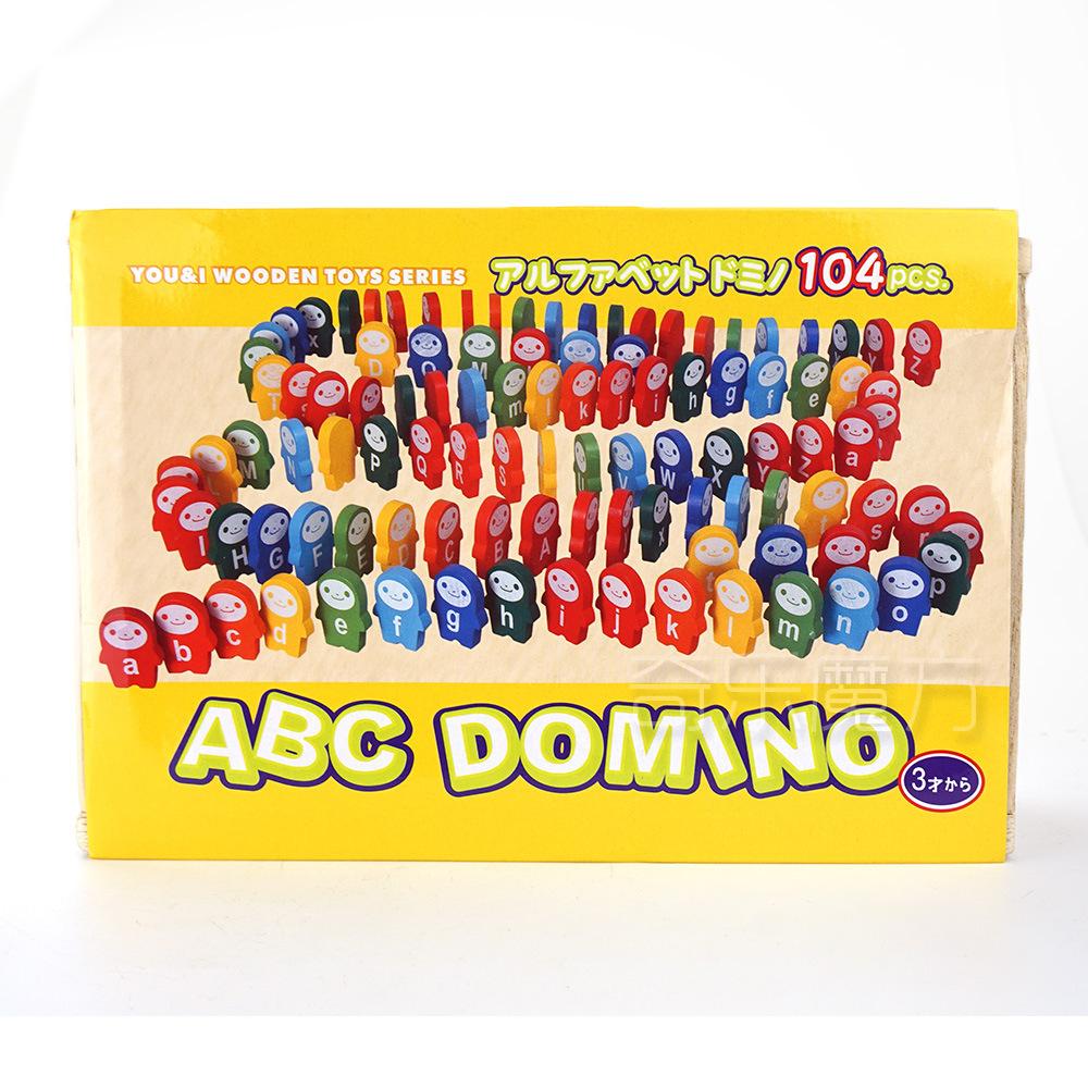 104Pcs Penguin Beech Wooden Letter Smiley Domino Children's Fun Creative Manual Educational Preschool Toys(China (Mainland))