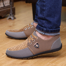 2016 Spring Brand Men Shoes Casual Lace up Canvas Men Flat Shoes Low Breathable Suede Classic Casual Men Shoes EU size 39-44(China (Mainland))