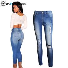 Owlprincess Plus Size 4XL Skinny Ripped Women Jeans Slim Hole Fashion High Waist Famale Denim Pencil Pants Cotton tight Trousers