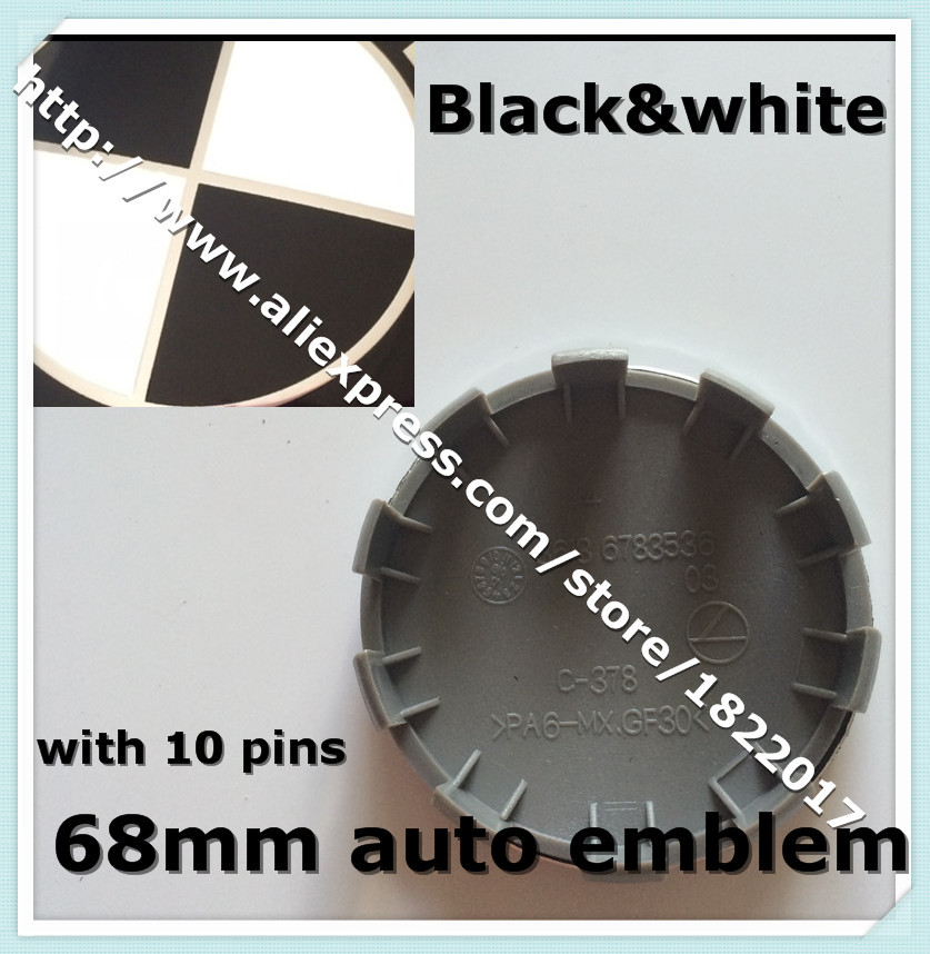 Car styling 4pcs/lot black&white 68mm plastic Wheel Center Caps Cover Badge Emblem 10 pins cap for car decoration(China (Mainland))