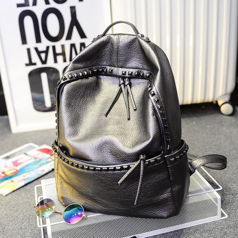 Vogue Fashionable School Bags For Teenage Sport Travel Leather Rivet Backpack Girl Japan Harajuku Female Waterproof Rucksack Bag<br><br>Aliexpress