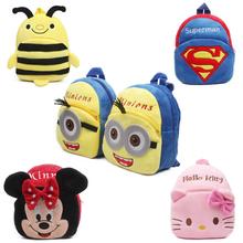 New cute cartoon kids plush backpack toys mini schoolbag Children's gifts kindergarten boy girl baby student bags lovely Mochila(China (Mainland))