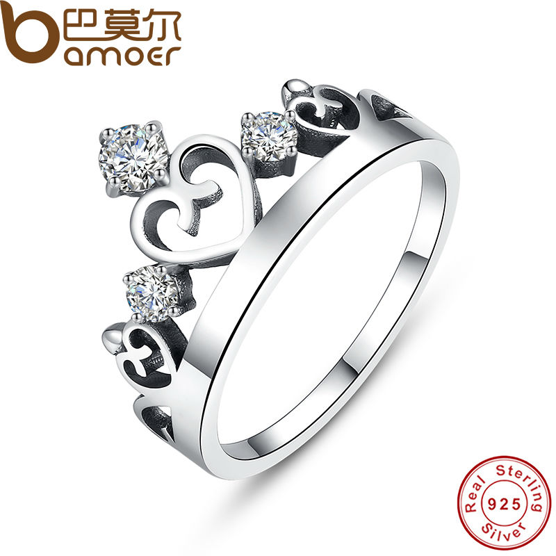 2016 NEW 100% 925 Sterling Silver Crown Ring with Zircon for Women Wedding Original Fine Jewelry SCR001(China (Mainland))