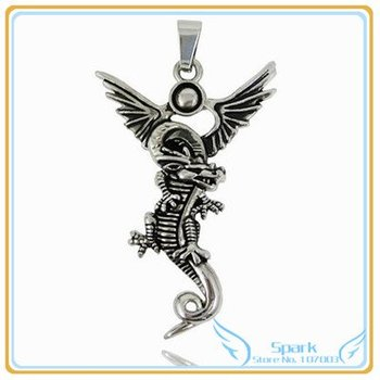 Stainless Steel Dragon Pendant Stainless Steel Necklace Pendant Dragon Necklace Pendant 12pcs/lot Free Shipping