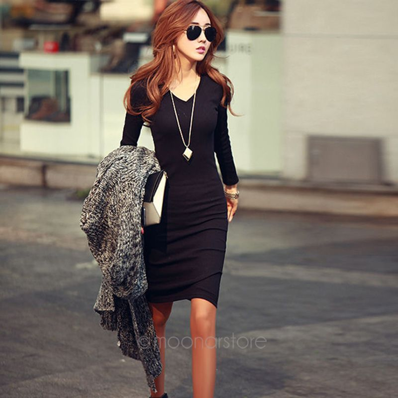 2014 New Fahion Solid Color Long-sleeved V-neck knit dress winter dress Free Shipping X60*E3235#S7(China (Mainland))
