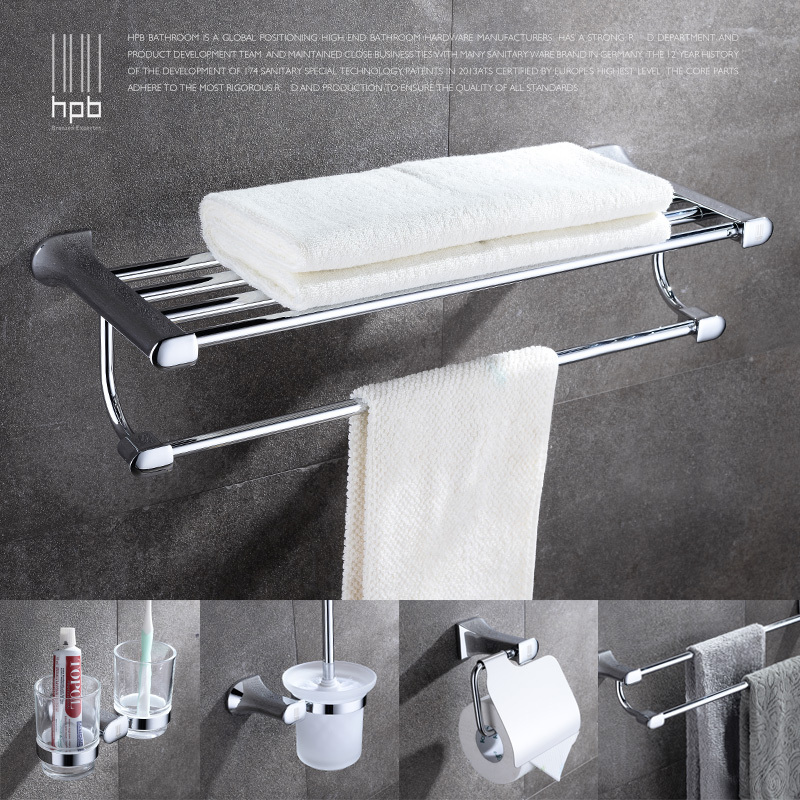 Hpb brass products bathroom accessories set towel rack for Rack for bathroom accessories