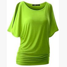 NIBESSER/брендовая футболка для женщин, рубашки с рукавами «летучая мышь», топ, однотонная хлопковая смесь с круглым вырезом, летние женские руб...(China)