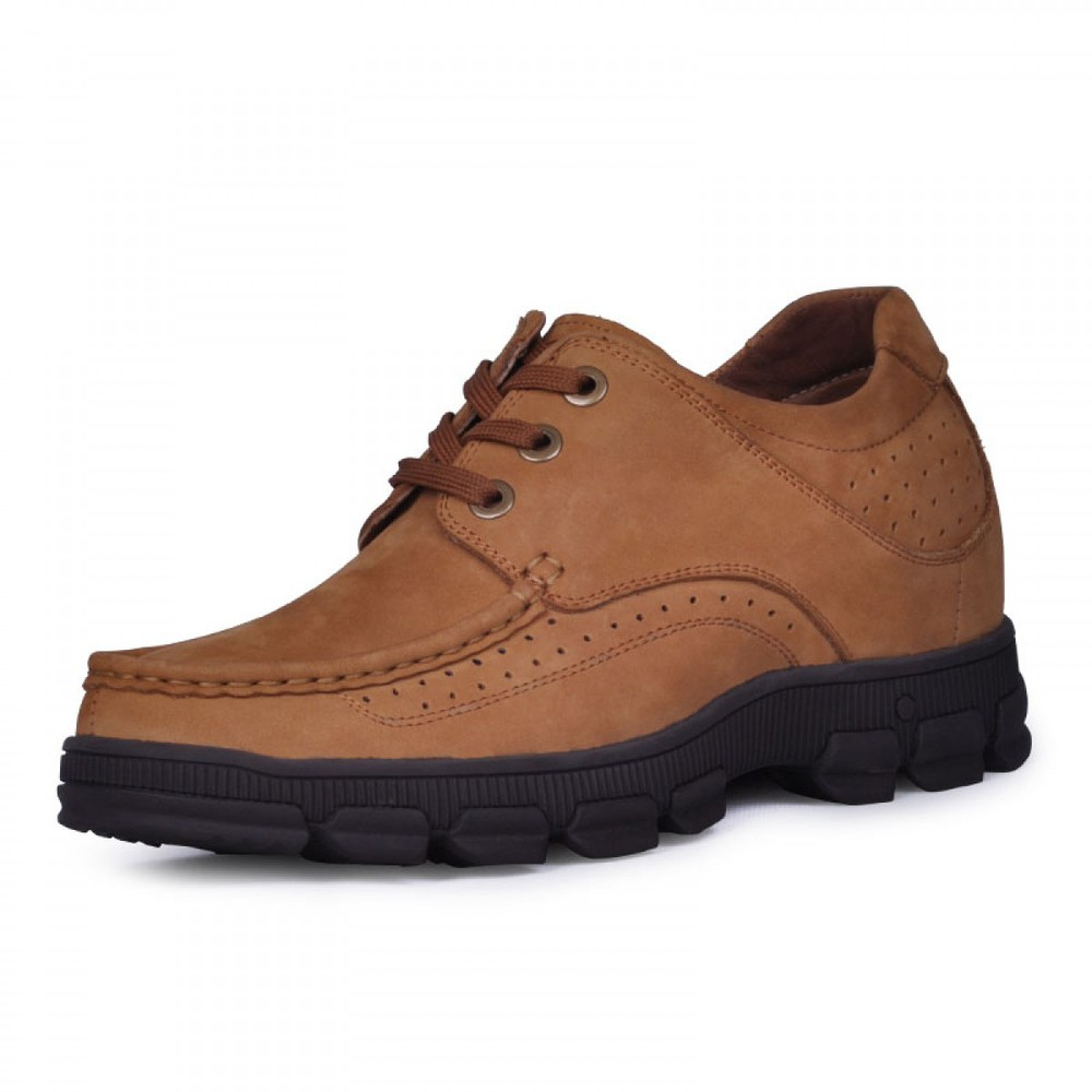 Hot style mens nubuck leather casual height increasing ...