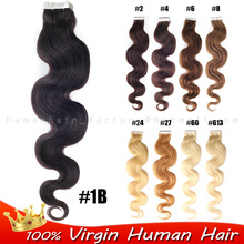 Surprise NEW Style 100% Real H uman Hair Body Wave Tape-In natural Hair Extensions 20pcs 50g Charming Sale Trendy custom colors(China (Mainland))