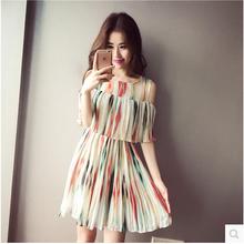 plus big size women clothing dress 2016 summer style korean vestidos Bohemian beach pleated chiffon high waist skirt dress A0629