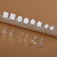 Hot New Fashion Cute Pure   Silver  Tiny Star Frosted Ear Stud Earrings Gift Party Prom Wedding(China (Mainland))
