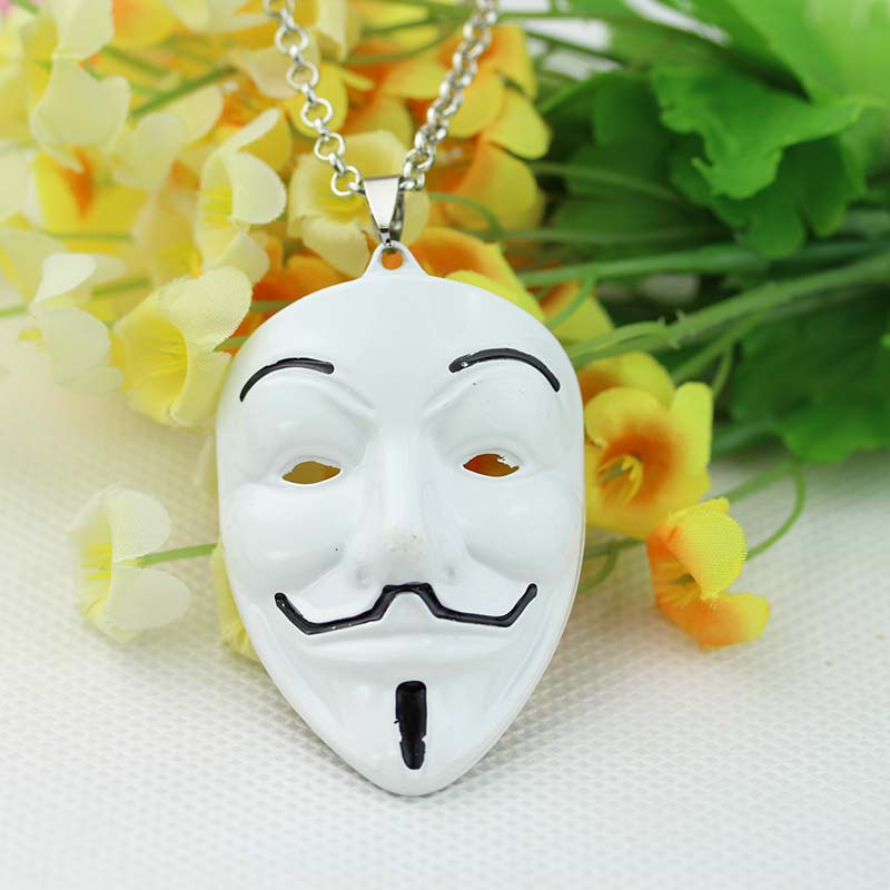 High Quality V For Vendetta Anonymous Movie Guy Fawkes Vendetta Mask Pendant Chain Metal Necklace Movie Jewelry Free Shipping