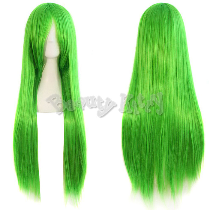 80cm Green Anime Cosplay Wigs Long Straight Synthetic Heat Resistant Hair Wig Oblique Bangs Fringe Fashion Fancy Wig Free Cap(China (Mainland))