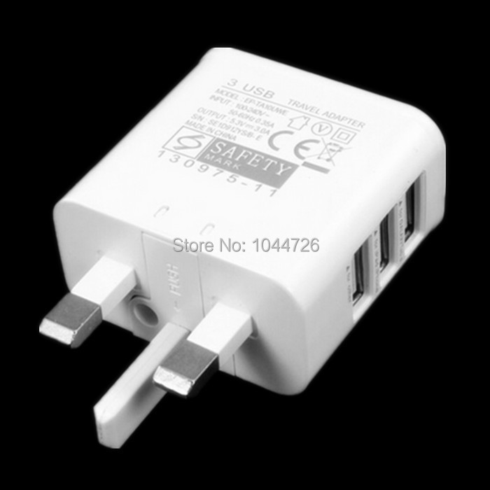 3 Port USB 5V 3A UK Plug Power Charger Adapter Wall Charger For Samsung Galaxy Tab Note 3 2 S4 HTC LG For Iphone 4 5 6 100pcs(China (Mainland))