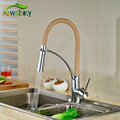 Colorful Kitchen Faucet Brass Chrome Polish Deck Mounted Swivel Spout Hot Cold Faucet