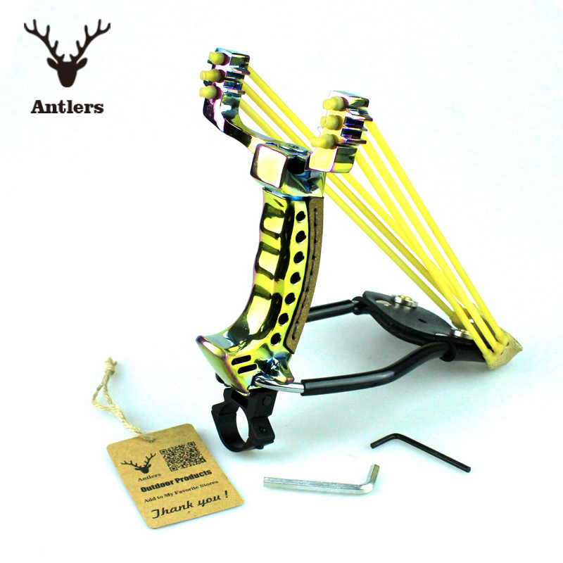 NEW Powerful Thunderstorm Steel Slingshot Catapult Wrist Sling Shot Outdoor Hunting Hunter + 2PCS Rubber Bands + 50 Steel Ball(China (Mainland))