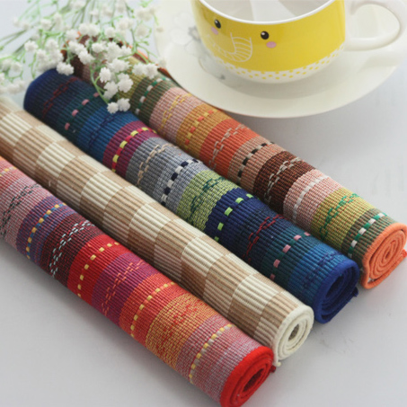 Free Shipping Colorful fashion pure stripe placemat table mat fabric western pad coasters disc pads dining table mat Pure cotton(China (Mainland))