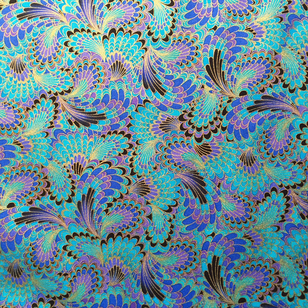 1 piece 50*140cm Vintage Handmade DIY Fabric Blue Peacock Tail Gilding Printed Cotton Cloth Sewing Material Home Textile WZ(China (Mainland))