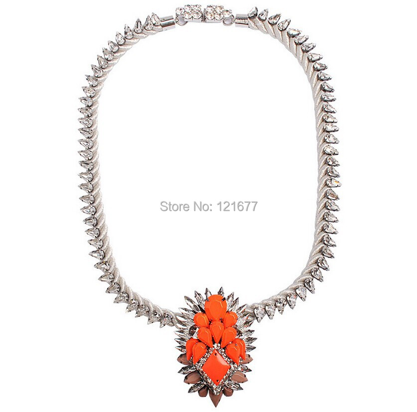 Fashion Luxury Rope Crystal Beads Knitting Shourouk Necklace Vintage Crystal Pendant Necklace Collar Accessories N0628