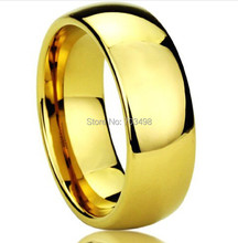 Classic Wedding rings wide 8mm 18K yellow Gold filled 316L Titanium steel rings for men and women jewelry