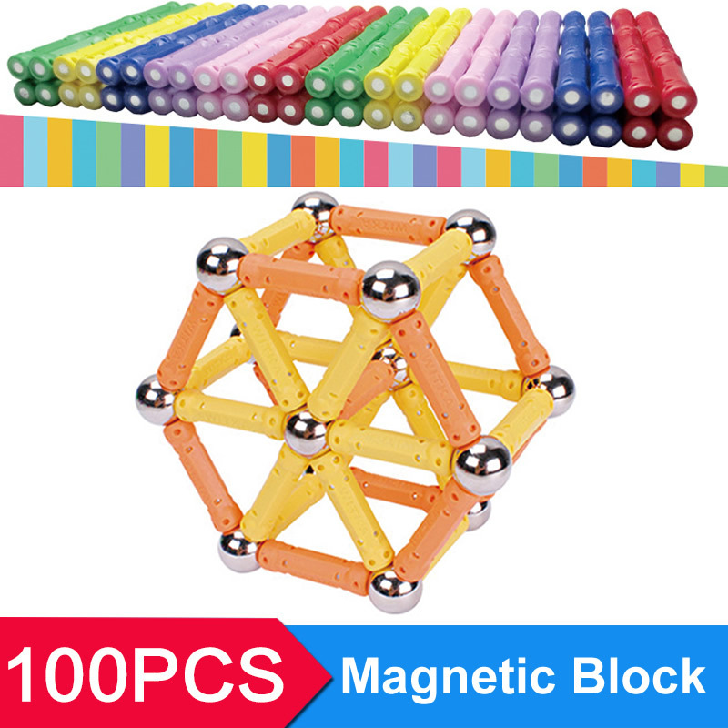 Children Educational Toys 60PCS Wand +40PCS Steel Ball Magnetic Block Blocks 3D Magformers Magnetic SL900064(China (Mainland))