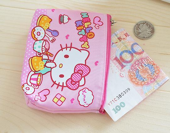 Kawaii 12*10CM Hello Kitty Canvas HAND Coin Purse & Wallet Pouch Case BAG ; Pocket Key Chain Women Makeup Holder BAG Handbag(China (Mainland))