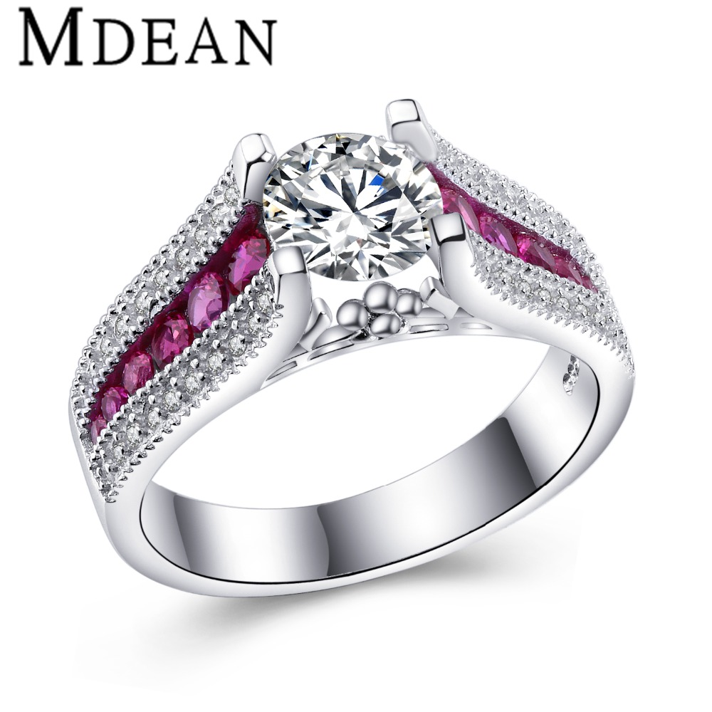 MDEAN Pink Stone White Gold Plated Wedding Rings For Women AAA zircon Engagement vintage Ring fashion Accessories Bague MSR349(China (Mainland))