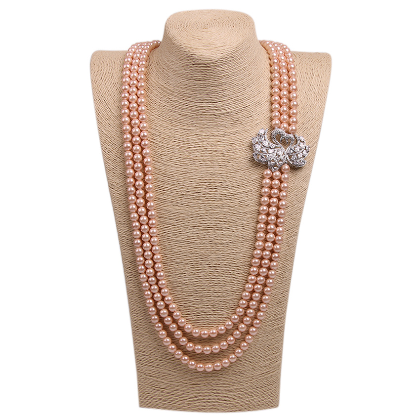 Multilayer Crystal Couple Swan Connectors Pearl Necklace Orange Natural Freshwater Shell Peal Beads Beautiful Charms Necklace(China (Mainland))