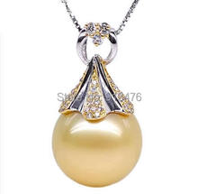 Free shipping!!!Golden South Sea Pearl Pendant,Fashion, with 18K Gold, Round, natural, with rhinestone & two tone, AAA Grade(China (Mainland))