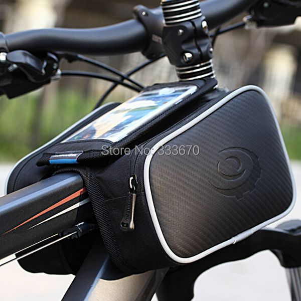 New Roswheel Cycling Bike Bicycle Front Bag Top Tube Frame Bag Pannier Double Pouch For 5in1 Cellphone Free Shipping(China (Mainland))