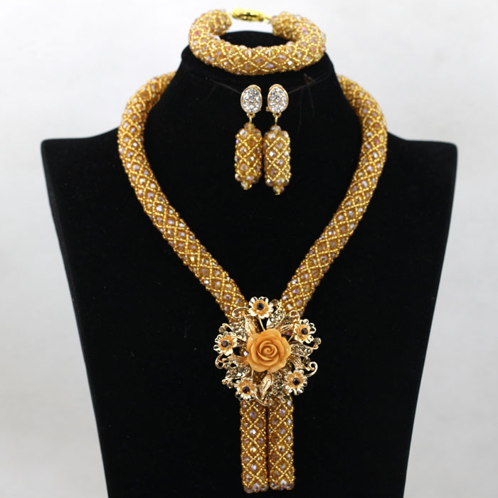 Wholesale Champagne Gold Nigerian African Wedding Beads Jewelry Set African Costume Necklace Set for Women Free Shipping WA727(China (Mainland))
