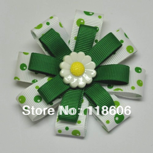 "2.5"" Daisy Girl Scouts Custom Boutique Hair Bow Baby Hair Clips Girl Hairbows Cute Flowers(China (Mainland))"