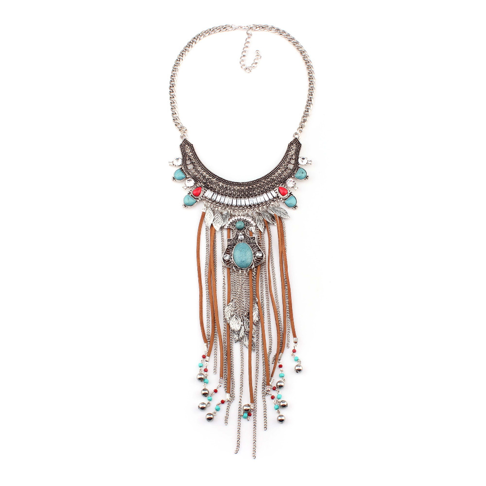 Good quality 2016 new fashion design ethnic alloy leather chain tassel bead leaf pendant statement necklace for women(China (Mainland))