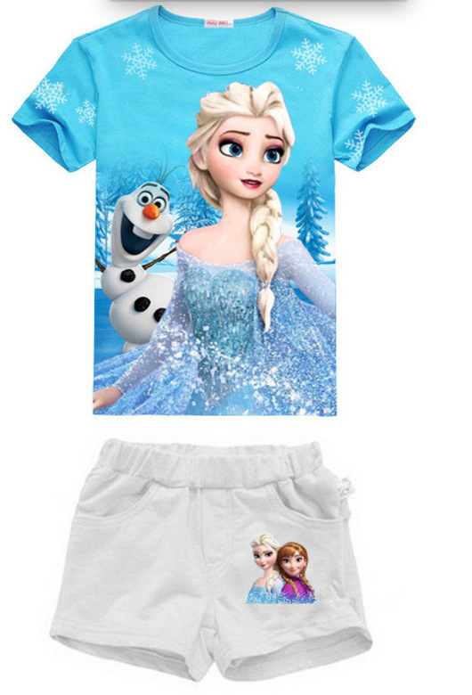 Baby girl Elsa Anna t shirt kids clothing children clothes toddler tops t-shirt cute Party Short sleeve 2016  cute robe enfant<br><br>Aliexpress