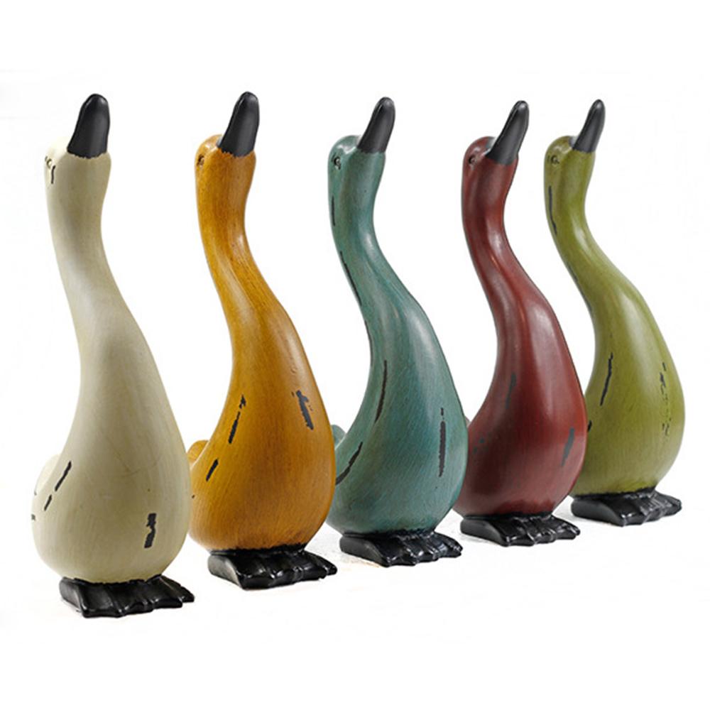 Hot Sale Handmade Colorful Ducks Creative Birthday Gift Lovely Animal Resin Figurine Crafts Children Room Home Decorations Craft(China (Mainland))